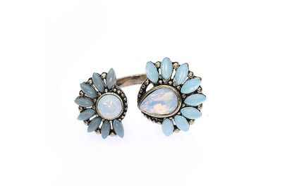 Avery and May Faux Opal Mint Lucky Blossom Ring