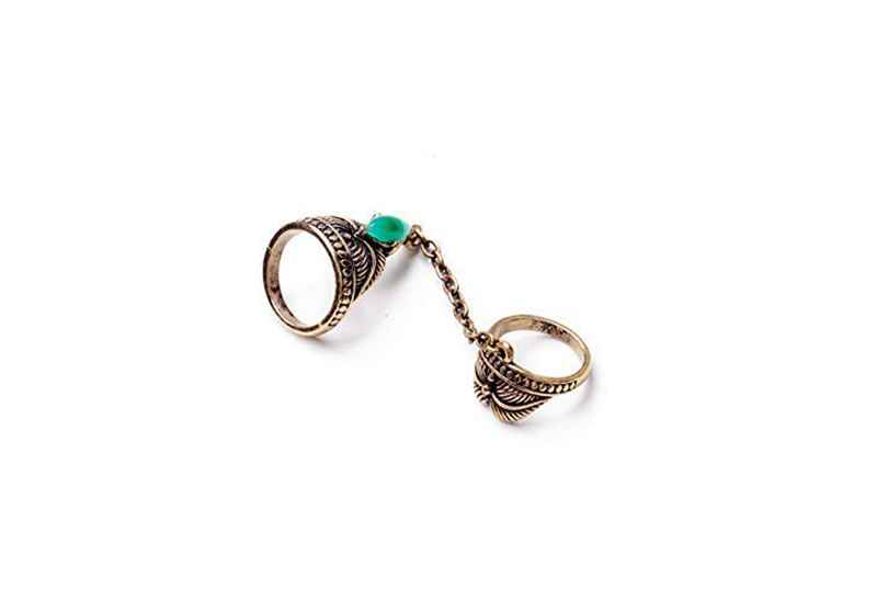 Avery and May Spiritual Warrior Collection Boho Vintage Two Finger Stackable Unchained Double Ring
