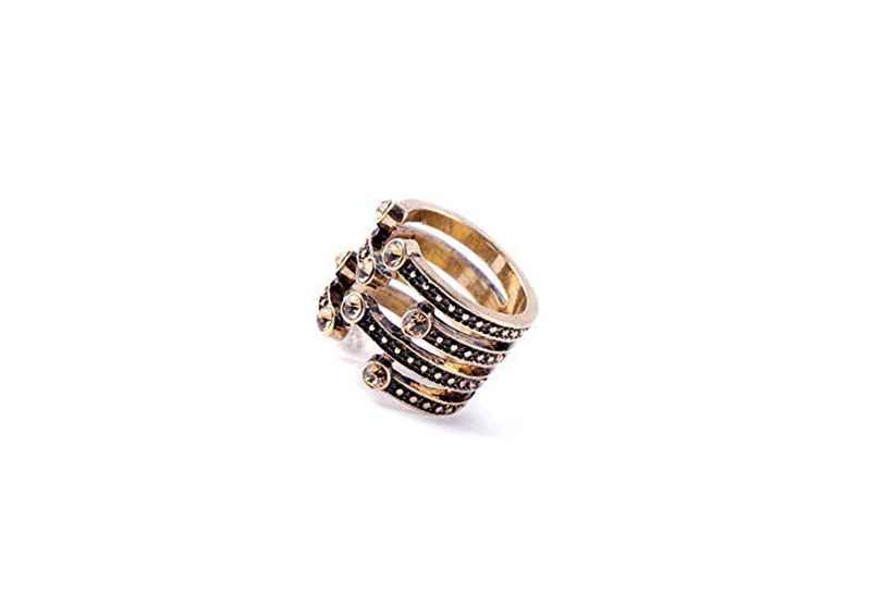 Avery and May Statement Collection Statement Open Rhinestone Disconnect Band Ring