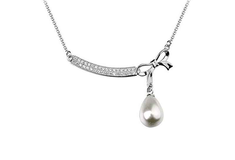 Avery and May Debutante Collection Tied W/ Bow Pearl Drop Necklace Small Necklace
