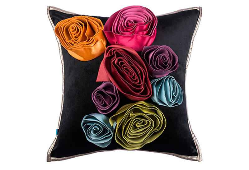 Pink Champa Lux Bouquet Square Pillow Cover