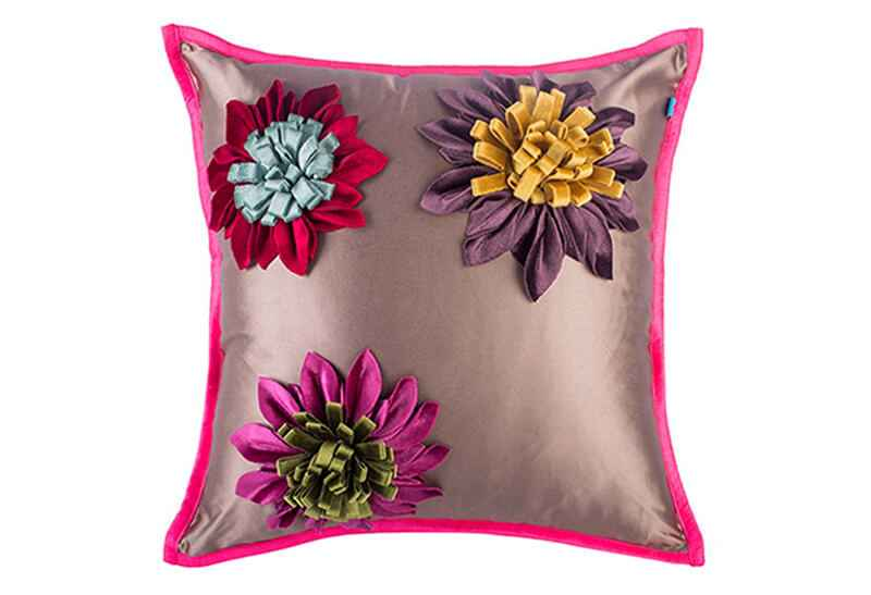 Pink Champa Passion Flowers Square Pillow Cover