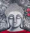 Pink Champa Divine Buddha Square Pillow Cover
