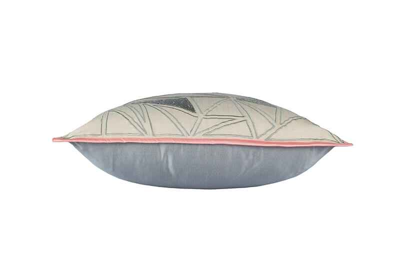 Pink Champa Geo Silver Square Pillow Cover