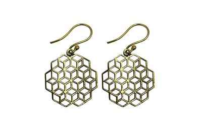 Avery and May Handmade Cubism Filigree Earrings for Women, Gold Color