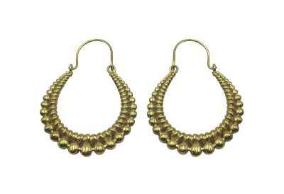 Avery and May Handmade Bearings Hoop Earrings for Women, Gold Color