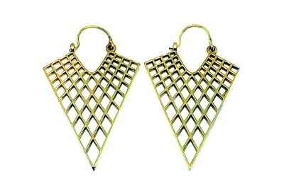 Avery and May Handmade Triangular Filigree Honeycomb Earrings for Women, Gold Color