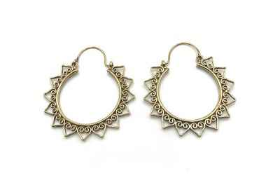 Avery and May Handmade Sunburst Hoop Earrings for Women, Gold Color