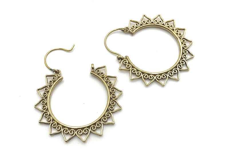 Avery and May Boho Handmade Sunburst Hoop s for Women, Gold Color Earring