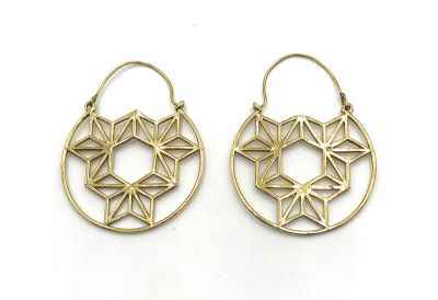 Avery and May Handmade DNA Filigree Hoop Earrings for Women, Gold Color