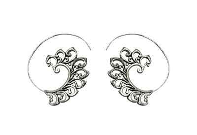 Avery and May Handmade Bali Threader Hoop Earrings for Women, Silver Color