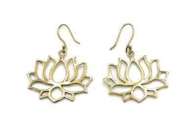 Avery and May Handmade Lotus Filigree Earrings for Women, Gold Color