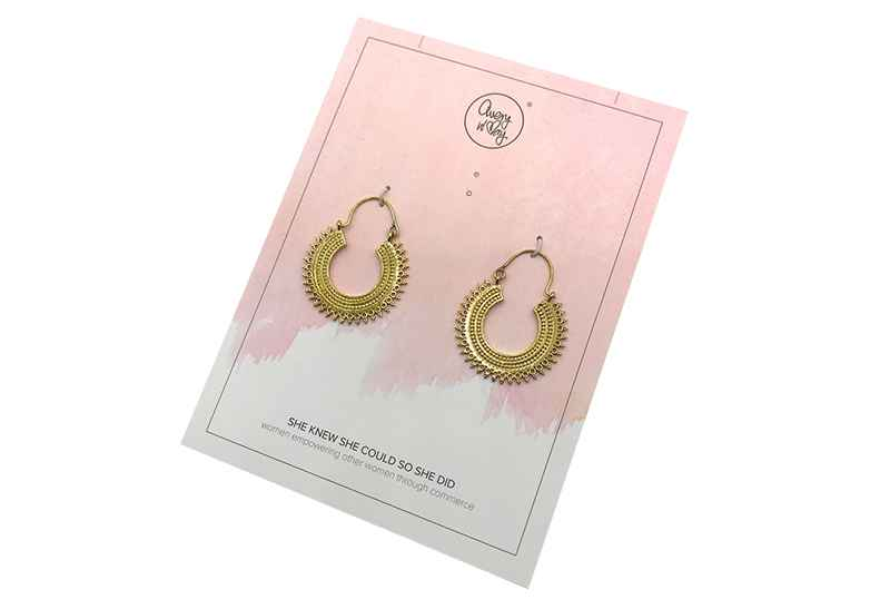Avery and May Boho Handmade Gypsy Hoops for Women, Gold Color Earring