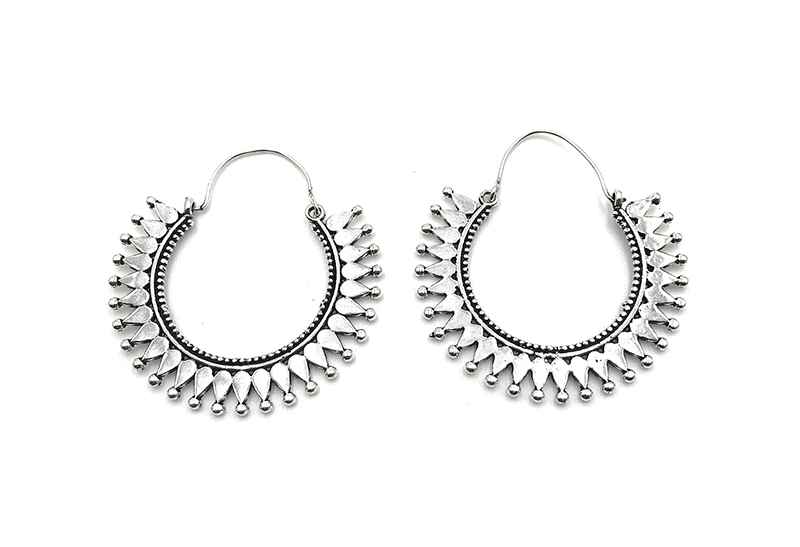 Avery and May Boho Handmade Gypsy Hoops for Women, Silver Color Earring