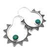 Avery and May Gems Handmade Starry Night Hoop s for Women, Silver Color with Green Stone Earring