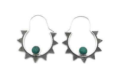 Avery and May Handmade Starry Night Hoop Earrings for Women, Silver Color with Green Stone