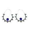 Avery and May Gems Handmade Starry Night Hoop s for Women, Silver Color with Blue Stone Earring