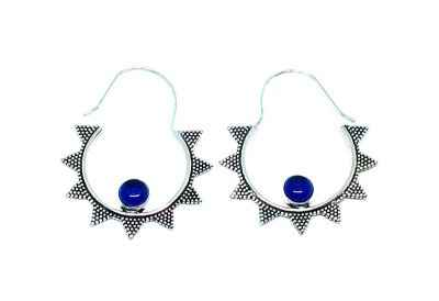 Avery and May Handmade Starry Night Hoop Earrings for Women, Silver Color with Blue Stone