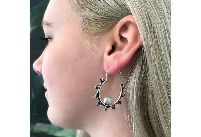 Avery and May Gems Handmade Starry Night Hoop s for Women, Silver Color with Moonstone Earring
