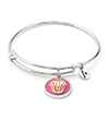Chrysalis Chrysalis Wishes Cupcake Adjustable Charm Bangle For Girls, Silver Rhodium Plated Bracelet