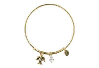 Chrysalis Holiday Angel Charm Expandable Bangle Bracelet, Gold Plated