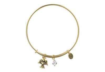 Chrysalis Holiday Angel Charm Expandable Bangle Bracelet, Gold Plated