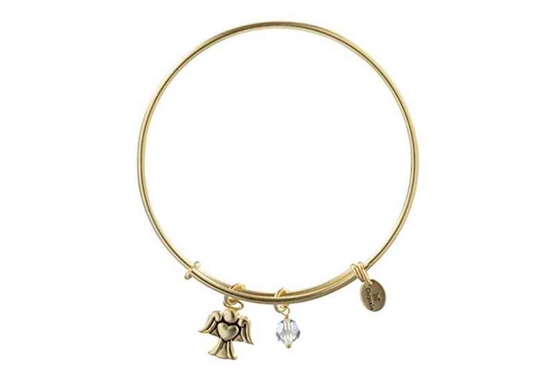 Chrysalis Chrysalis Holiday Angel Charm Expandable Bangle , Gold Plated Bracelet