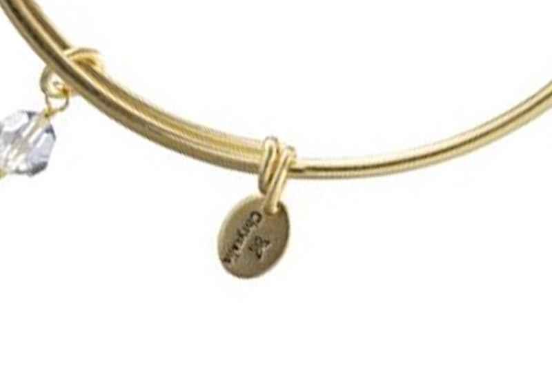 Chrysalis Chrysalis Holiday Angel Charm Expandable Bangle , Gold Plated Bracelet