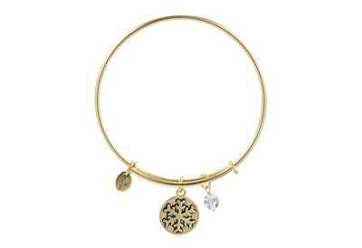 Chrysalis Holiday Snowflake Pendant Charm Expandable Bangle Bracelet, Gold Plated