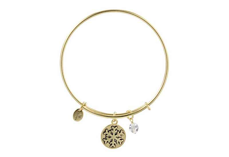 Chrysalis Chrysalis Holiday Snowflake Pendant Charm Expandable Bangle , Gold Plated Bracelet