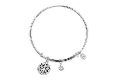 Chrysalis Holiday Snowflake Pendant Charm Expandable Bangle Bracelet, Silver Rhodium Plated
