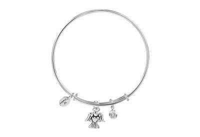 Chrysalis Holiday Angel Charm Expandable Bangle Bracelet, Silver Rhodium Plated