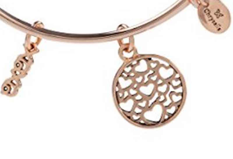 Chrysalis Chrysalis XOXO Pendant Charm Expandable Bangle , Rose Gold Plated Bracelet