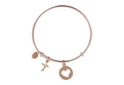 Chrysalis Heartbeat Love Charm Expandable Bangle Bracelet, Rose Gold Plated