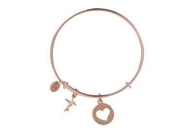 Chrysalis Heartbeat Love Charm Expandable Bangle Bracelet, Rose Gold Plated