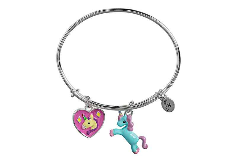 Chrysalis Chrysalis Wishes Unicorn Adjustable Charm Bangle For Girls, Silver Rhodium Plated Bracelet