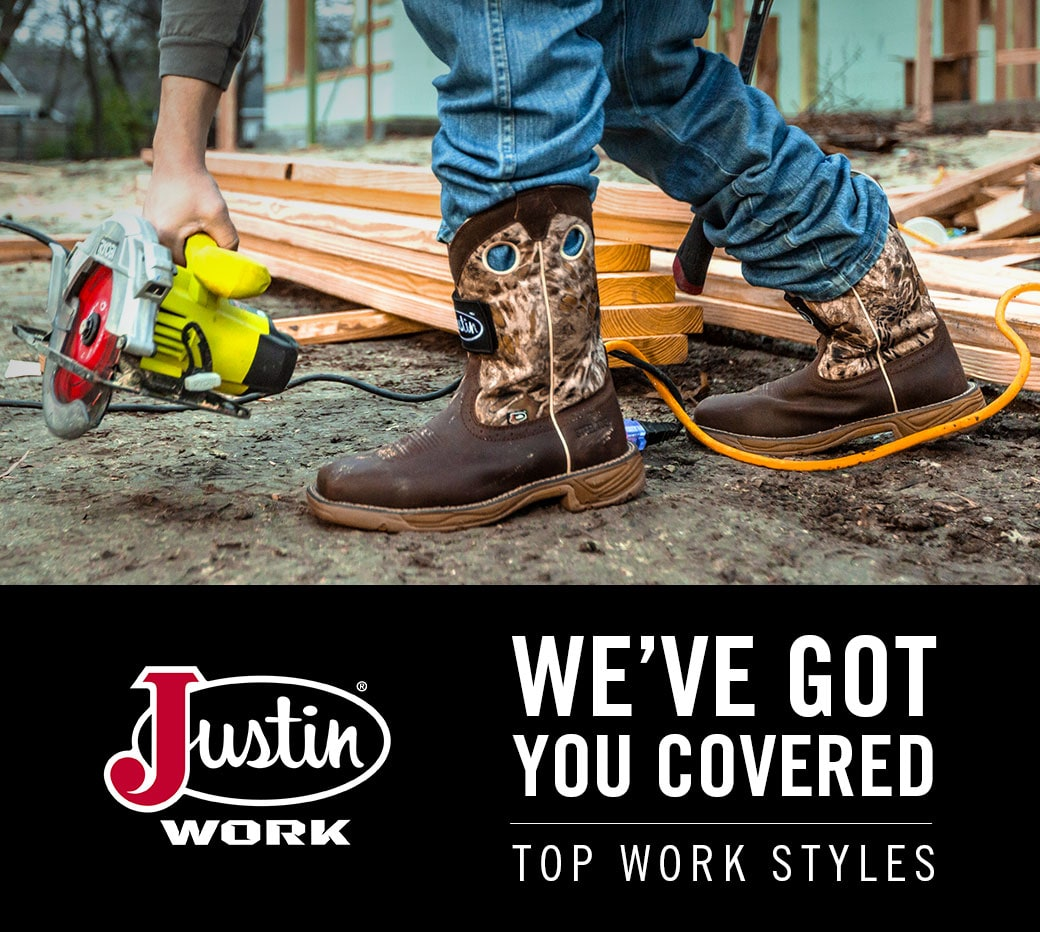 Justin Work. We've got you covered. Top work styles. Featured style: RUSH GRIZZLY BROWN