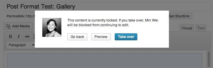 Screenshot of post locking feature