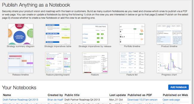 Product roadmap publish