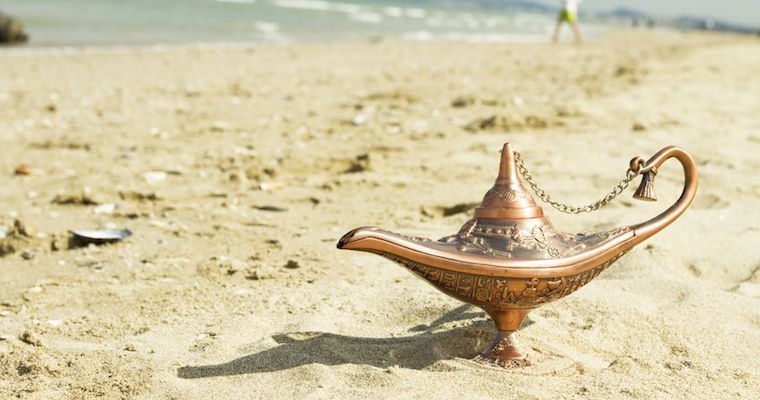 magic genie lamp washed up on the beach