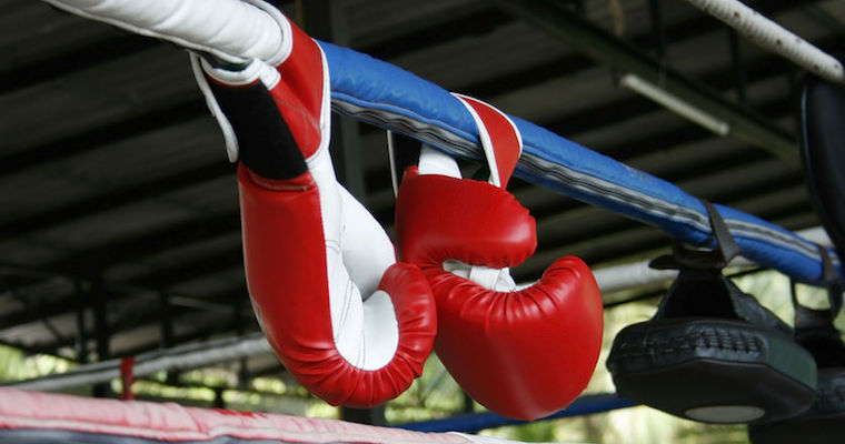 boxing gloves hanging on boxing ring ropes
