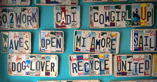 wall of license plates
