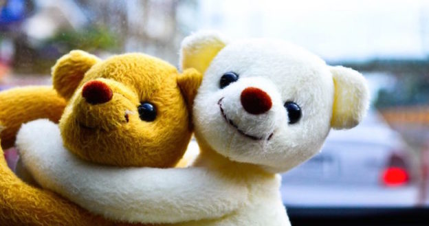 teddy bear traffic hugging each other