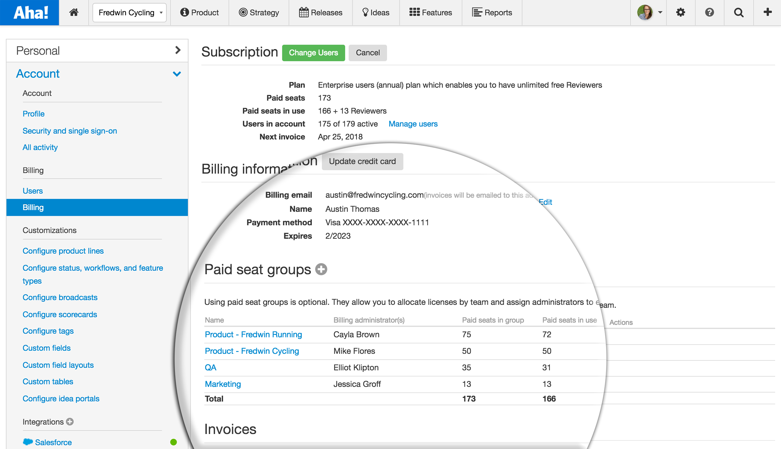 Aha roadmapping software - settings page, table of paid seat groups
