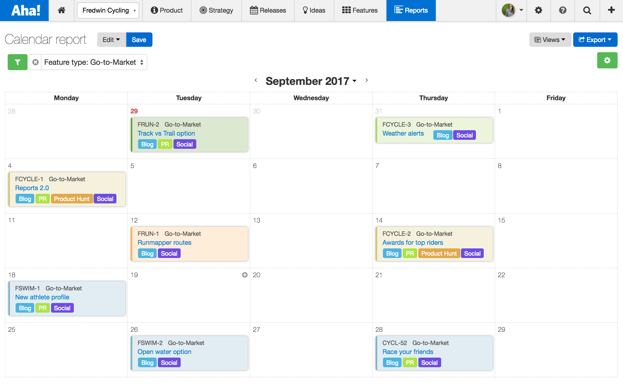 Visual Calendar Report For Product Marketing | Aha! Blog