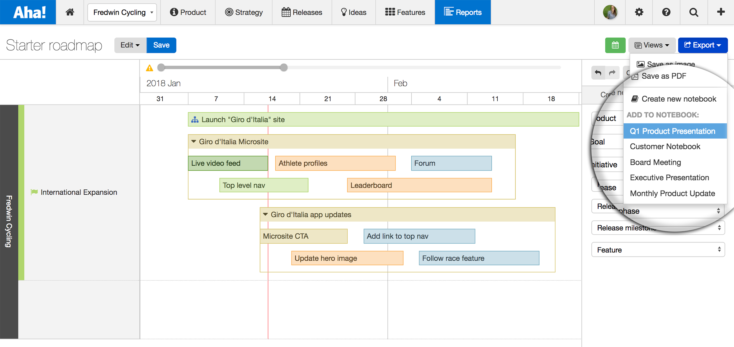 Aha! starter roadmap showing a release colored by status