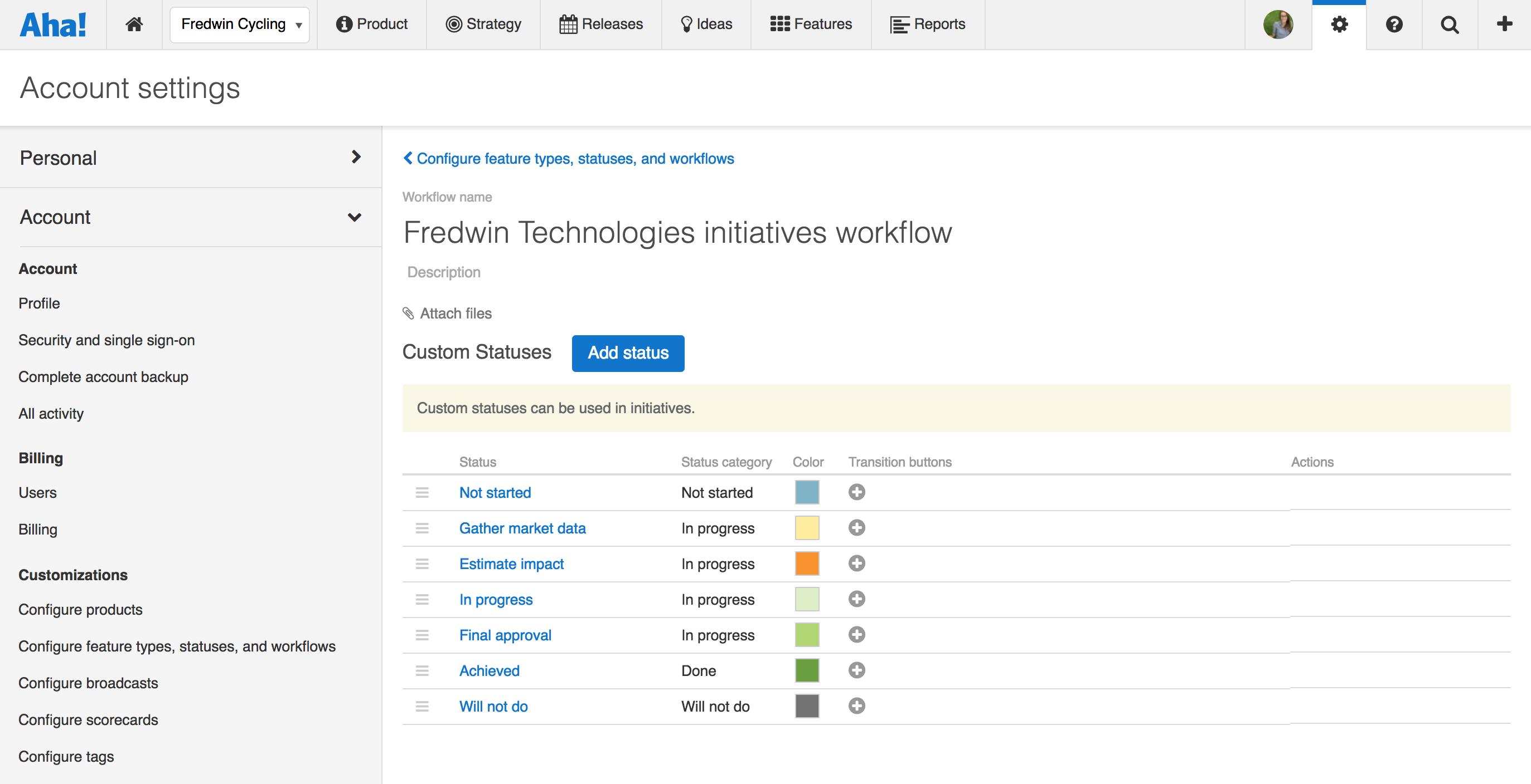 Defining statuses for custom workflow in Aha!