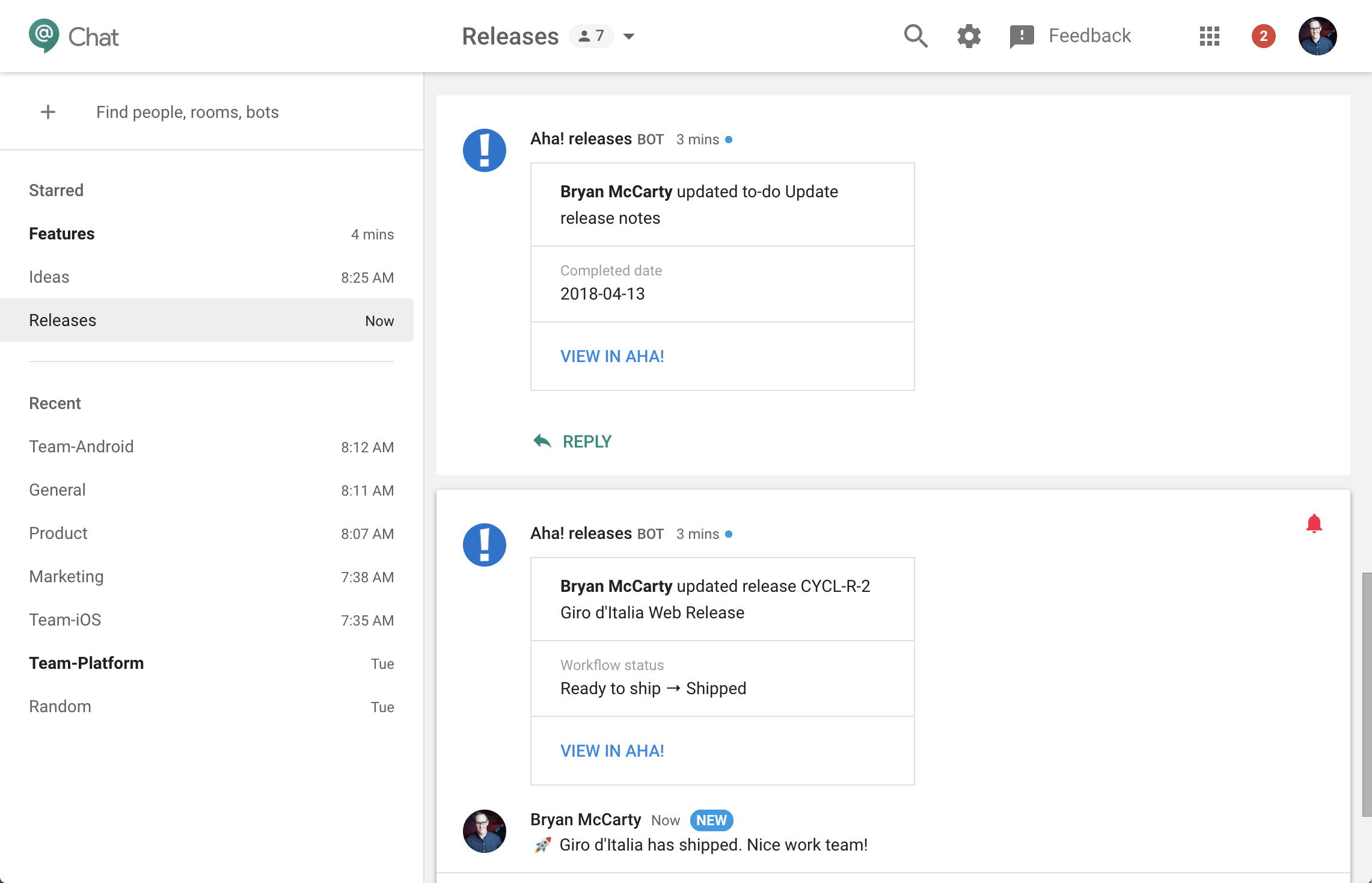 Hangouts Chat Releases room