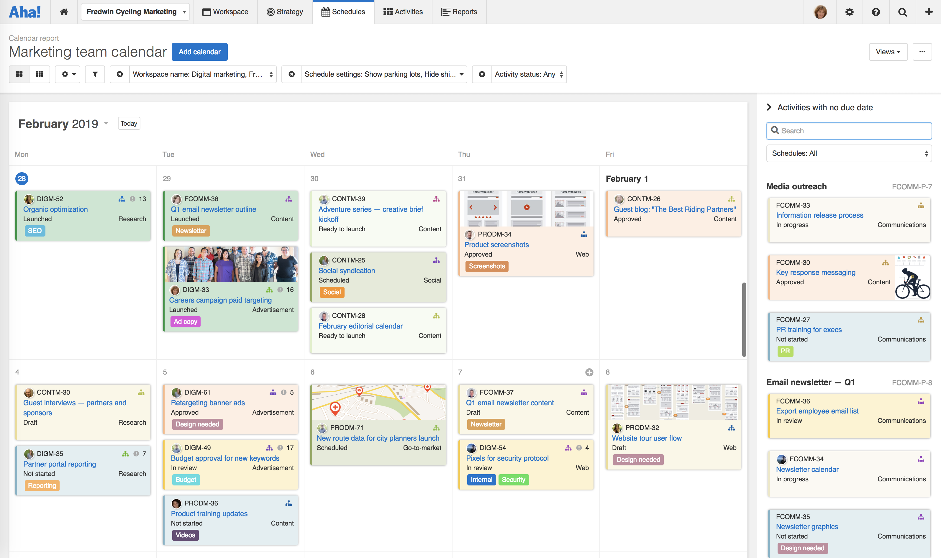 Just Launched! — Enhanced Calendar to Visualize Activities | Aha! Blog