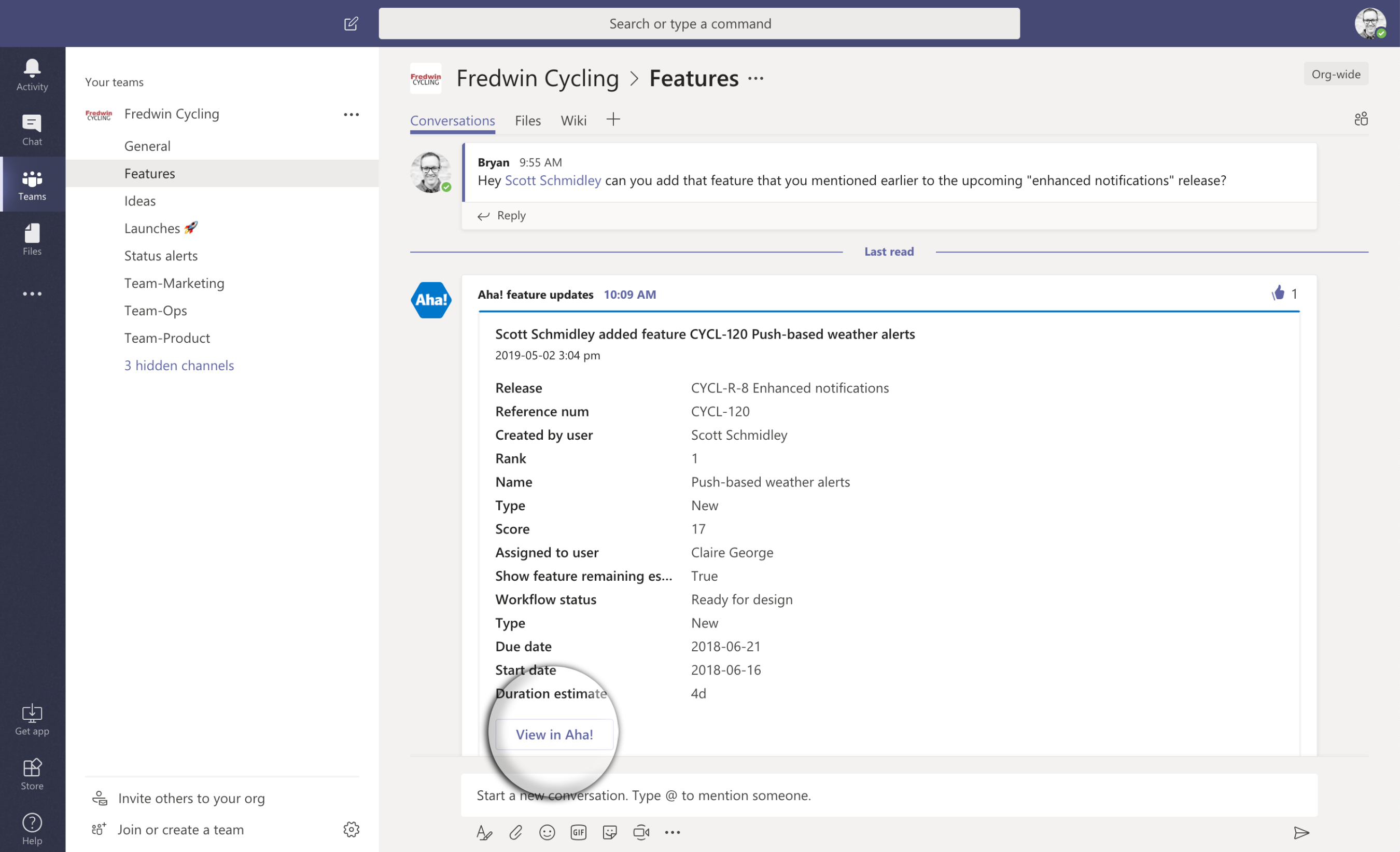 Features channel in Microsoft Teams
